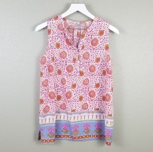 Dalia Pink Red Floral Sleeveless Tunic Blouse M
